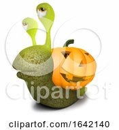 3d Snail Character With A Halloween Pumpkin Instead Of A Shell