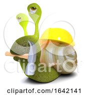 Poster, Art Print Of 3d Snail Bug Character Wearing A Hard Hat And Holding A Hammer