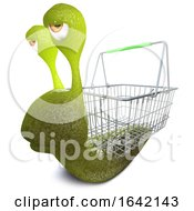 3d Snail Bug Character Carrying A Shopping Basket