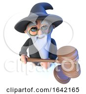 3d Wizard Magician Holding An Auction Gavel