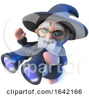 3d Wizard Magician Using A Pair Of Binoculars