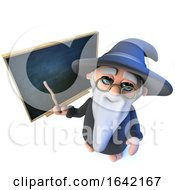 3d Wizard Magician Pointing At The Blackboard With His Magic Wand