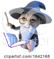 3d Funny Wizard Magician Character Waving His Wand At His Magic Book Of Spells