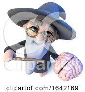 3d Wizard Magician Character Waving His Wand At A Human Brain