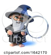 3d Wizard Magician Character Holding A Magnifying Glass