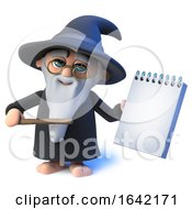 3d Wizard Magician Character Points His Wand At A Notepad