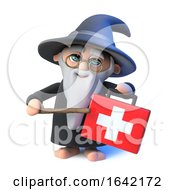 3d Wizard Magician Character Points His Wand At A First Aid Medical Kit