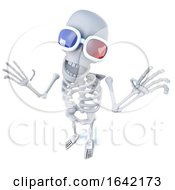 3d Skeleton Wearing 3d Glasses At The Movies