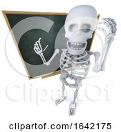 3d Skeleton Character Standing In Front Of A Blackboard