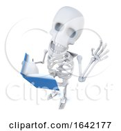 3d Skeleton Character Reading A Book