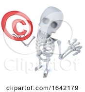 3d Spooky Skeleton Character Holding A Copyright Symbol