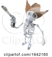 3d Skeleton Character Wearing A Cowboy Hat And Holding A Gun