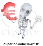 3d Skeleton Character Holding A Euro Currency Symbol by Steve Young