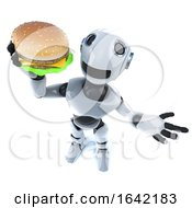 3d Mechanical Robot Character Holding A Cheese Burger Fast Food Snack