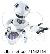 3d Robot Character Drinking A Cup Of Coffee