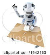 3d Funny Robot Character Waving From Begind An Office Desk