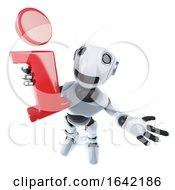 3d Cool Robot Mechanical Man Holding An Information Symbol