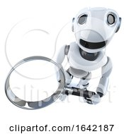 3d Robot Character Holding A Magnifying Glass