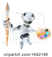 3d Robot Holding A Paintbrush And Palette