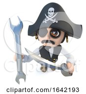 3d Pirate Captain Character Holding A Spanner Wrench
