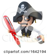 3d Pirate Captain Character Writing With A Pen