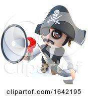 3d Pirate Captain Character Shouting Through A Megaphone