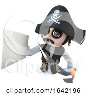 3d Pirate Captain Character Holding An Envelope Message