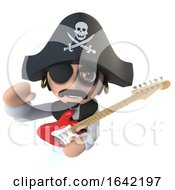 3d Pirate Captain Character Playing An Electric Guitar