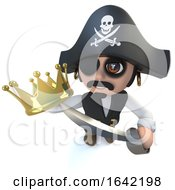 3d Pirate Captain Character Holding A Gold Crown