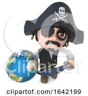3d Pirate Captain Character Holding A Globe Of The Earth