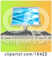 Computer Keyboard And Flatscreen Lcd Monitor Screen On A Colorful Background Clipart Illustration Graphic by 3poD