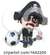 3d Pirate Captain Character Holding A Football Soccer Ball