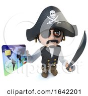 3d Pirate Captain Character Using A Debit Card