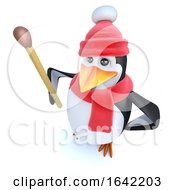 3d Penguin Character Dressed For Winter Holding A Match