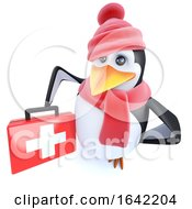 3d Penguin Character Dressed For Winter Holding A First Aid Kit