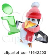 3d Winter Penguin Holding An Information Symbol