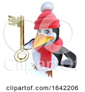 3d Penguin Dressed For Winter And Holding A Gold Key