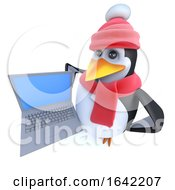 3d Penguin Dressed For Winter And Holding A Laptop Pc