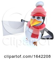 3d Winter Penguin Holding An Mail Envelope