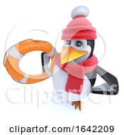 3d Winter Penguin Holding A Life Ring Bouyancy Aid