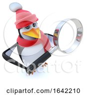 3d Winter Penguin Holding A Magnifying Glass