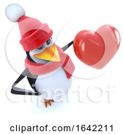 3d Penguin Dressed For Winter And Holding A Red Heart