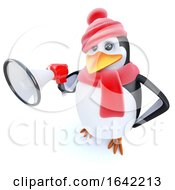 3d Penguin Character Dressed For Winter And Holding A Megaphone