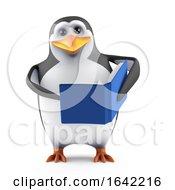 3d Penguin Reads A Book