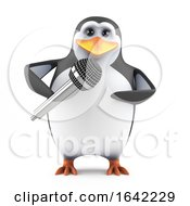 3d Penguin With Microphone