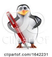 3d Cute Penguin With A Pen
