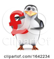 3d Cute Penguin With UK Pounds Sterling Symbol by Steve Young
