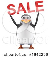 3d Cute Penguin Holds A Sale by Steve Young
