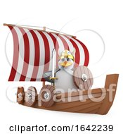 3d Might Viking Warrior Penguin In His Warship