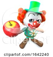 3d Clown Character Holding A Red Apple